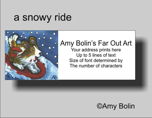 """A Snowy Ride"" Sable Shetland Sheepdog Address Labels"