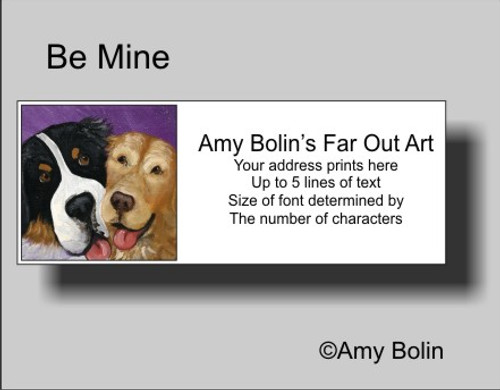 """Be Mine"" Bernese Mountain Dog, Golden Retriever Address Labels"