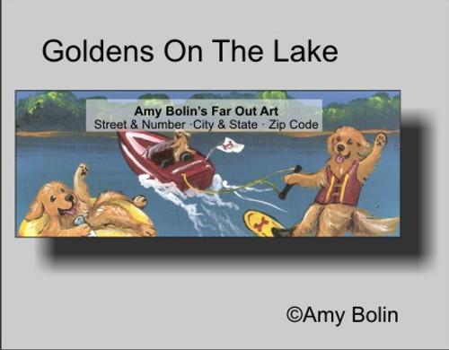 """""""Golden's On The Lake"""" Golden Retriever Address Labels"""