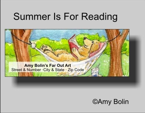 """Summer Is For Reading"" Golden Retriever Address Labels"