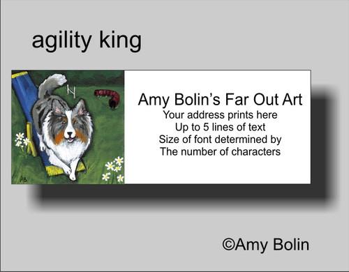 """Agility King"" Blue Merle Shetland Sheepdog Address Labels"