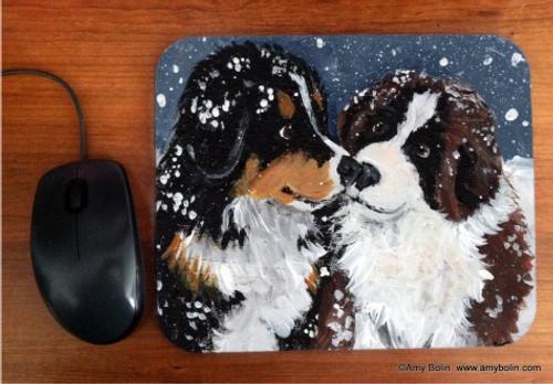"""Puppy Kisses"" Bernese Mountain Dog & Saint Bernard Mouse Pad"