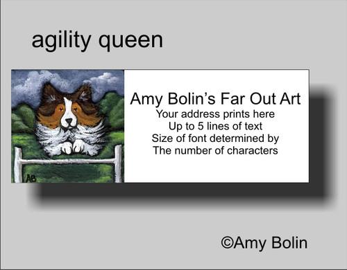 """Agility Queen"" Sable Shetland Sheepdog Address Labels"