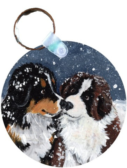 """Puppy Kisses"" Bernese Mountain Dog, Saint Bernard Keychain"
