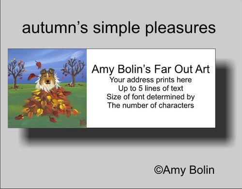 """""""Autumn's Simple Pleasures"""" Sable Shetland Sheepdog Address Labels"""