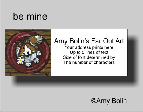 """Be Mine"" Sable Shetland Sheepdog Address Labels"
