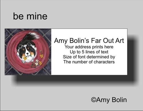 """""""Be Mine"""" Tri Color Shetland Sheepdog Address Labels"""