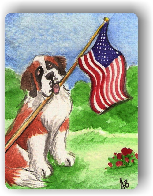 """Proud To Be American"" Saint Bernard Magnet"