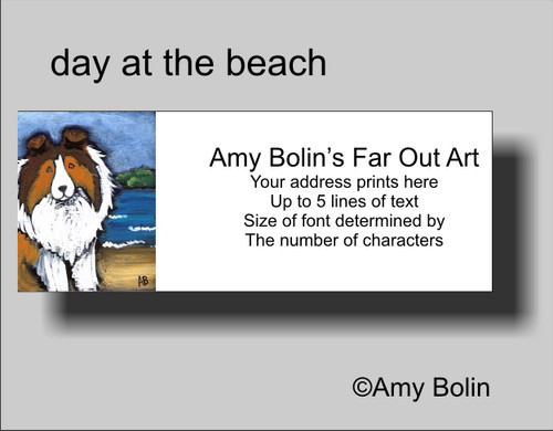 """Day At The Beach"" Sable Shetland Sheepdog Address Labels"