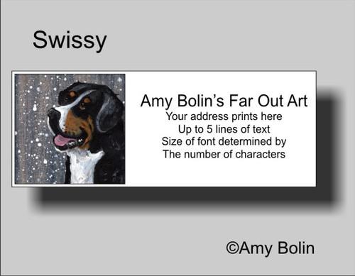 """Swissy"" Greater Swiss Mountain Dog Address Labels"