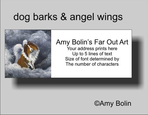 """""""Dog Barks & Angel Wings"""" Sable Shetland Sheepdog Address Labels"""