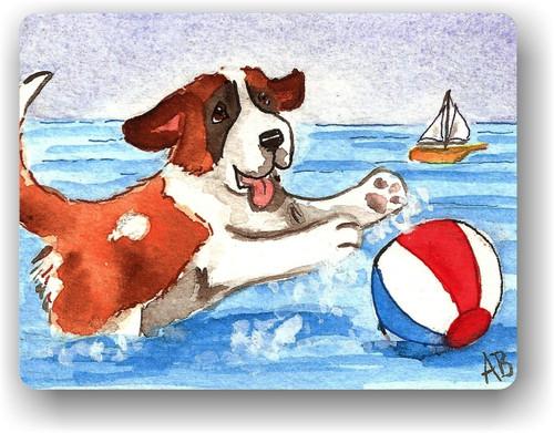 """""""Summer Fun"""" Saint Bernard Magnet"""