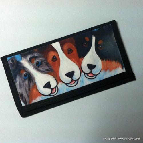 """BFF's"" Blue Merle, Sable, Tri Color Shetland Sheepdog Checkbook Cover"