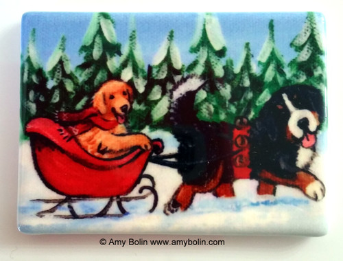 """A Wintry Ride"" Bernese Mountain Dog, Golden Retriever Magnet"