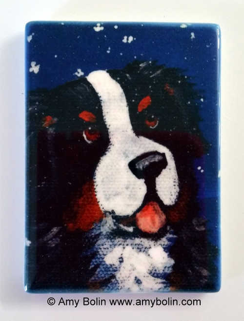 """Counting Snowflakes"" Bernese Mountain Dog Magnet"