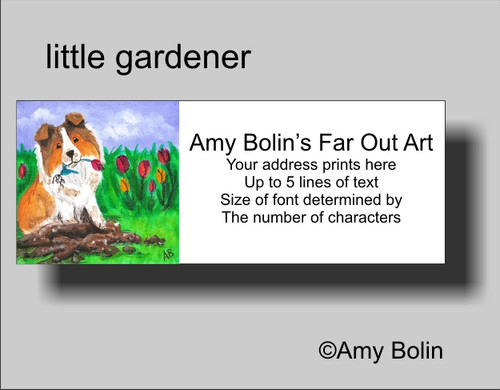 """Little Gardener"" Sable Shetland Sheepdog Address Labels"