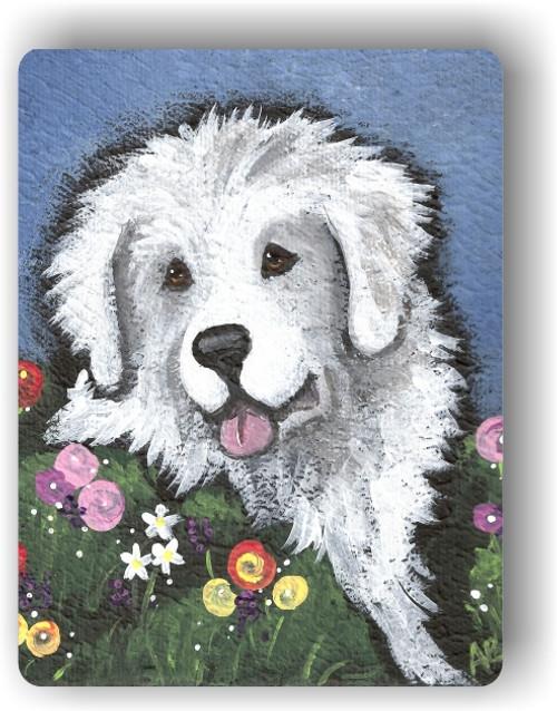 """Mom's Favorite Flower"" Great Pyrenees Magnet"