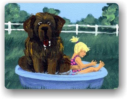 """Bathing Beauties"" Brown Newfoundland Magnet"