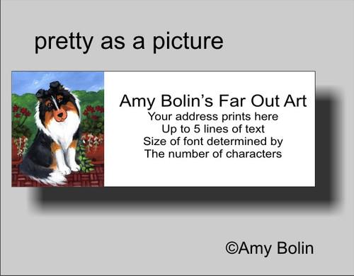 """Pretty As A Picture"" Tri Color Shetland Sheepdog Address Labels"