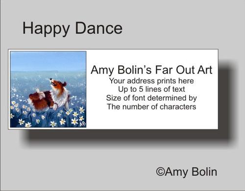 """Happy Dance"" Sable Shetland Sheepdog Address Labels"