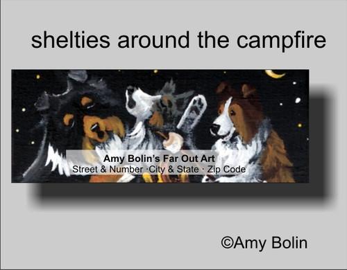 """Shelties Around The Campfire"" Blue Merle, Sable, Tri Color Shetland Sheepdog Address Labels"