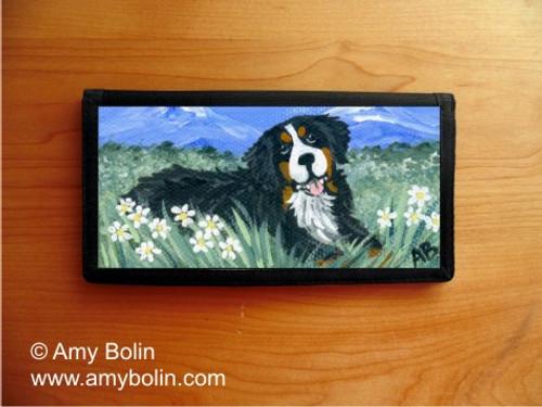 """""""Mountain Home"""" Bernese Mountain Dog Checkbook Cover"""