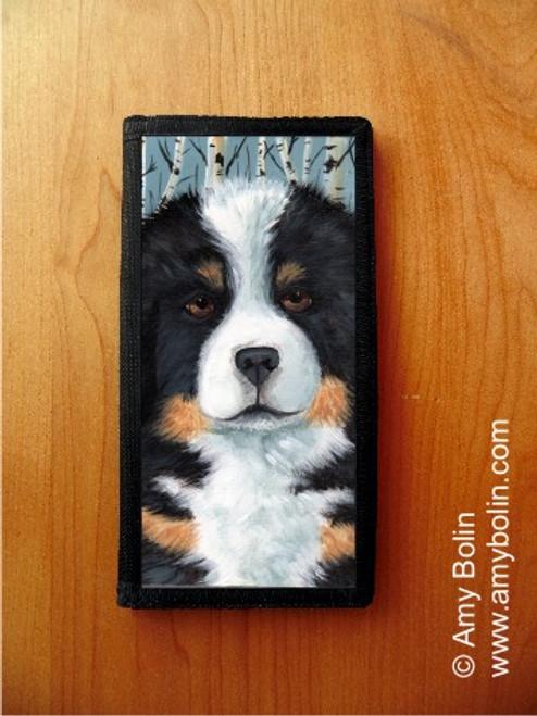 """Puppy Eyes"" Bernese Mountain Dog Checkbook Cover"