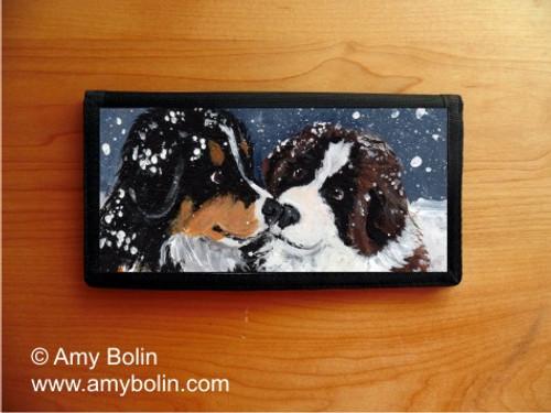 """Puppy Kisses"" Bernese Mountain Dog & Saint Bernard Checkbook Cover"