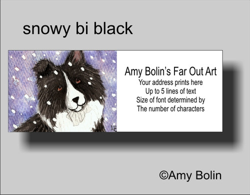 """Snowy Bi Black"" Bi Black Shetland Sheepdog Address Labels"