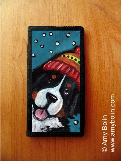 """""""Snowy Weather"""" Bernese Mountain Dog Checkbook Cover"""