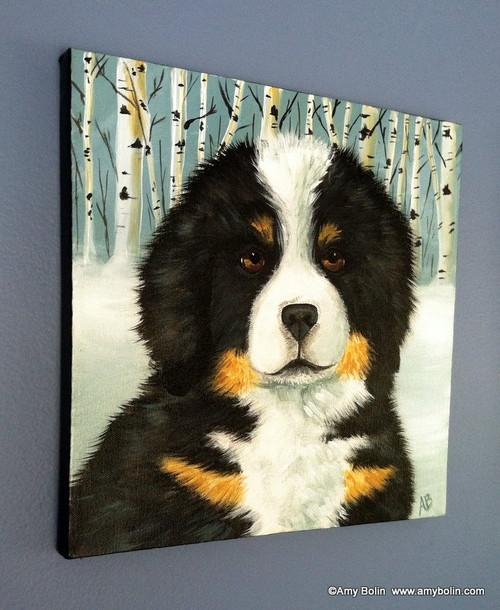 """Puppy Eyes"" Bernese Mountain Dog Original ART Acrylic Painting on Canvas 12"" square"