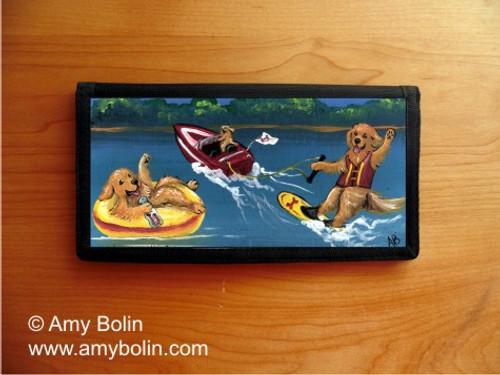 """""""Goldens On The Lake"""" Golden Retriever Checkbook Cover"""
