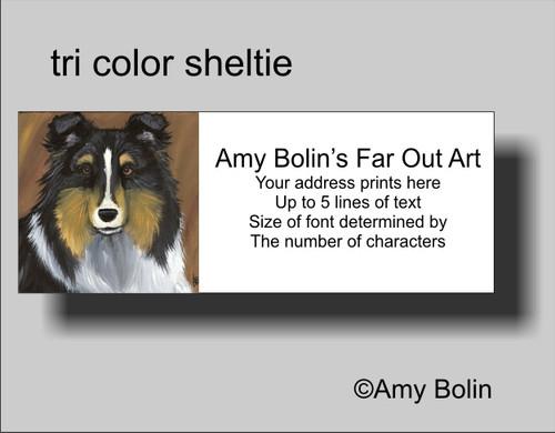 """""""Tri Color Sheltie"""" Tri Color Sheltie Shetland Sheepdog Address Labels"""