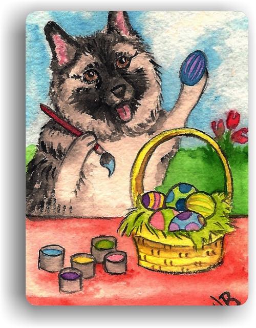 """""""Easter Egg Artist"""" Norwegian Elkhound Magnet"""