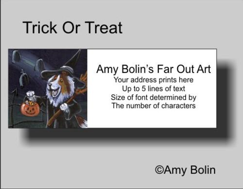 """Halloween: Trick Or Treat"" Sable Shetland Sheepdog Address Labels"