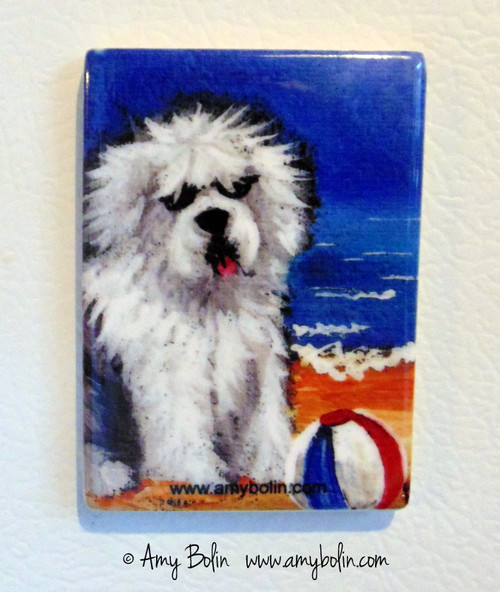"""Beach Bum"" Old English Sheepdog Magnet"