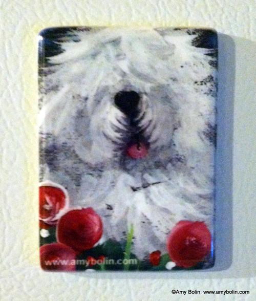 """""""Mom's Favorite Flower"""" Old English Sheepdog Magnet"""