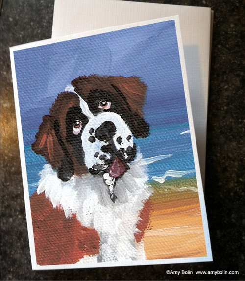 """A Day At The Beach"" Saint Bernard Note Cards"
