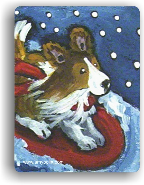 """""""A Snowy Ride"""" Sable Sheltie Magnet"""