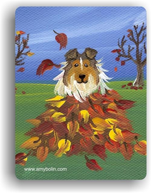 """""""Autumn's Simple Pleasures"""" Sable Sheltie Magnet"""