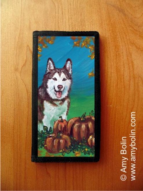 """Autumn's Simple Pleasures"" Siberian Husky Checkbook Cover"