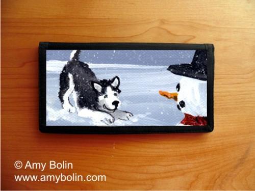 """""""My Snowy Friend"""" Siberian Husky (black) Checkbook Cover"""
