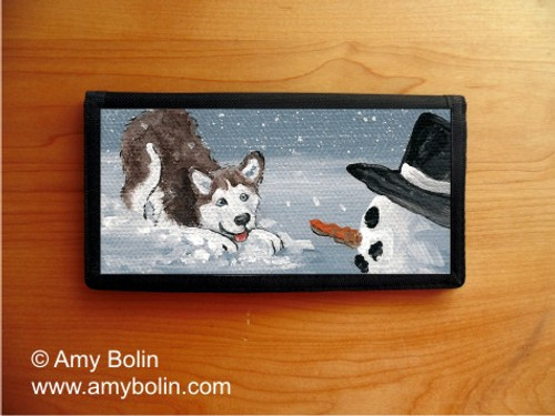 """My Snowy Friend"" Siberian Husky (red) Checkbook Cover"