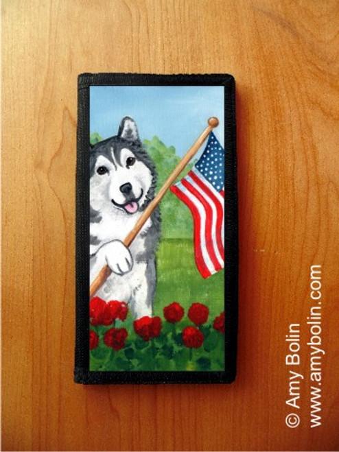 """""""Proud To Be American"""" Alaskan Malamute Checkbook Cover"""