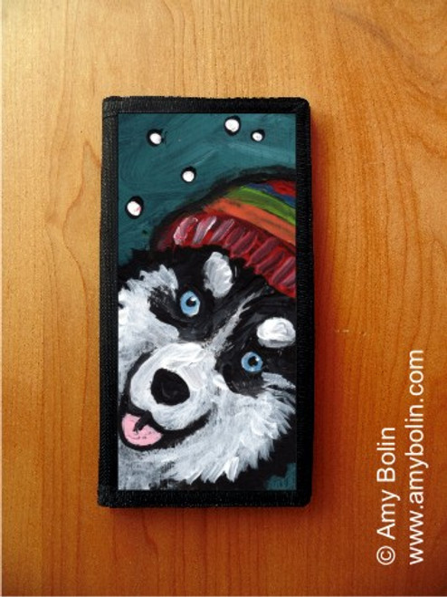 """Snowy Weather"" Siberian Husky Checkbook Cover"