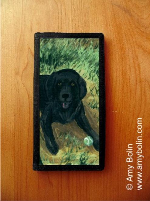 """""""Shall We Fetch?"""" Black Labrador Retriever Checkbook Cover"""