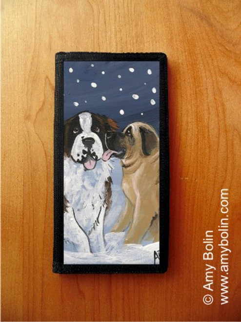 """Little Kiss"" Mastiff & Saint Bernard Checkbook Cover"
