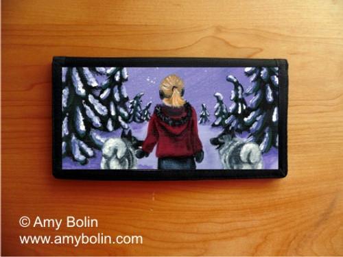 """A Snowy Walk"" Norwegian Elkhound Checkbook Cover"