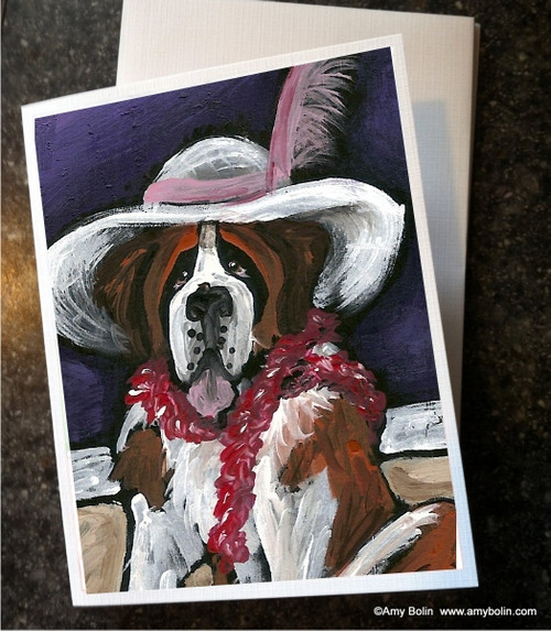 """All Dressed Up With Nowhere To Go"" Saint Bernard Note Cards"