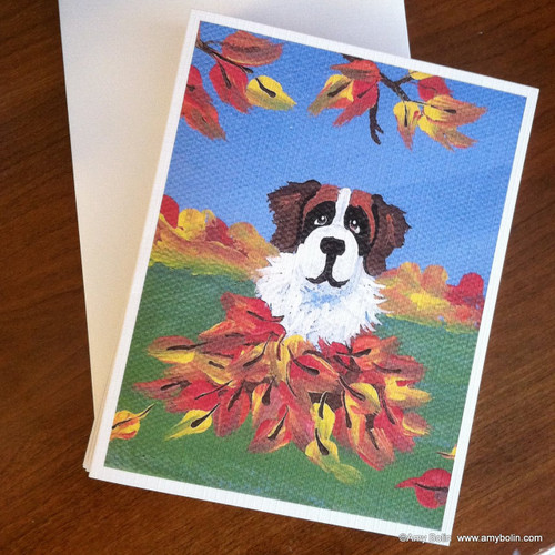 """Autumn's Simple Pleasures 3"" Saint Bernard Note Cards"
